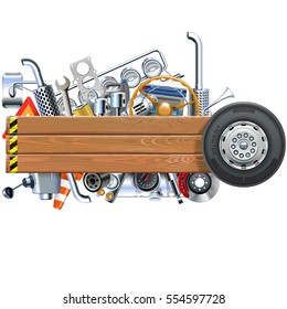 Vector Wooden Board with Truck Spares