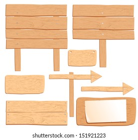 vector wooden boards isolated on white for design