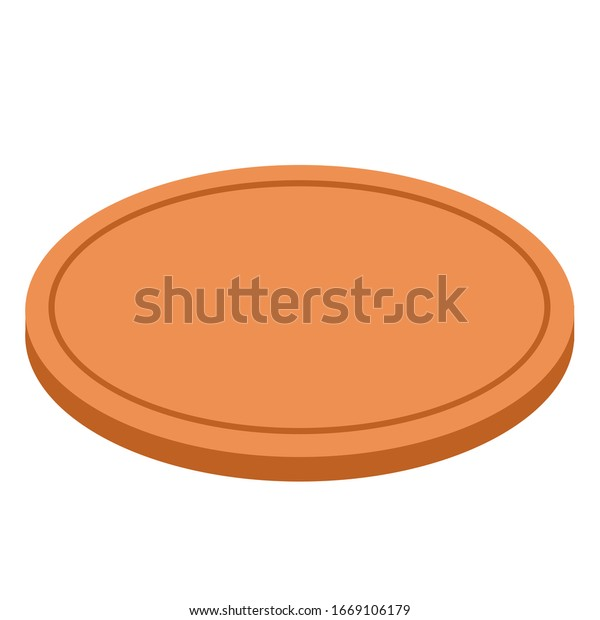 Vector wooden brown cutting board isolated on white background. Round. For pizza and other fast food. EPS 10