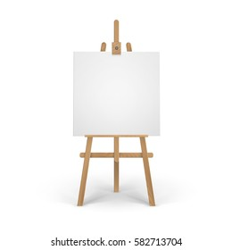 Vector Wooden Brown Sienna Easel with Mock Up Empty Blank Square Canvas Isolated on Background