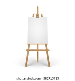 Vector Wooden Brown Sienna Easel with Mock Up Empty Blank Vertical Canvas Isolated on Background