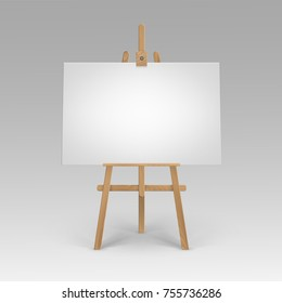 Vector Wooden Brown Sienna Easel with Mock Up Empty Blank Horizontal Canvas Isolated on Background