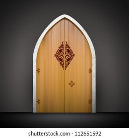 vector wooden door illustration