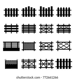 vector of wooden fences icon set isolated on white background