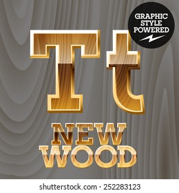 Vector wooden font with golden border. Letter T