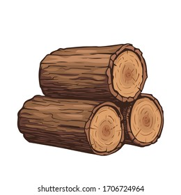 Vector wooden logs. Stack of three logs icon in cartoon style isolated on white background. Sawmill and timber vector illustration.