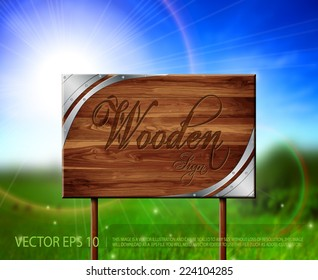 Vector wooden - metallic sign with beautiful nature background