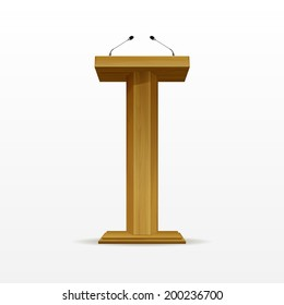 Vector Wooden Podium Tribune Rostrum Stand with Microphones Isolated on White Background