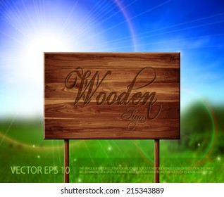 Vector wooden sign with beautiful summer calling background