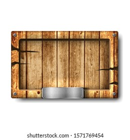 Vector wooden signboard in old vintage wood with cracks and metal plate on it. Isolated on white background.