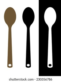 Vector wooden spoon silhouette set