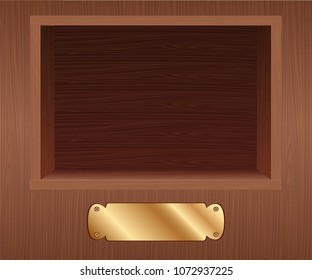 Vector. A wooden stage, and a shelf of awards in a niche in the open who, a decoration for walls, showcase light wood, wood texture for the niche, the puppet theatre, the place of the product. 3D