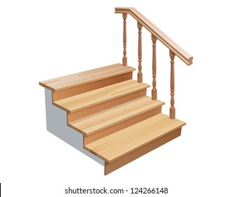 vector wooden stairs cross section on white background, gradient mesh and transparency used