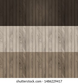 Vector wooden texture. Dark and light wood. Set of 3 design element, eco material, natural background. Flooring, covering, decking.