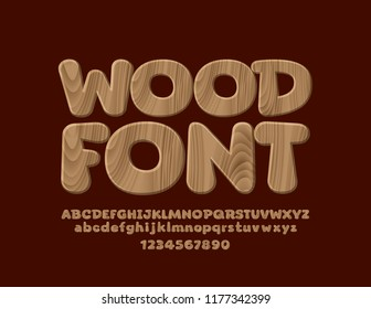 Vector Wooden textured Font. Set of Natural style Alphabet Letters, Numbers and Symbols
