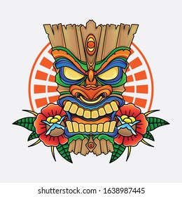 vector of wooden tiki mask, vector EPS 10