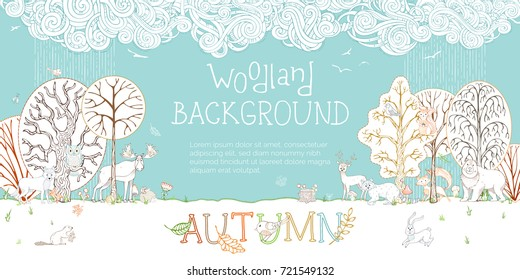 Vector woodland autumn background. Adorable woodland wild animals and birds in forest. Fox, deer, hare, squirrel, bear, racoon, hedgehog, owl, beaver. Autumn wet weather. Trees and falling leaves.