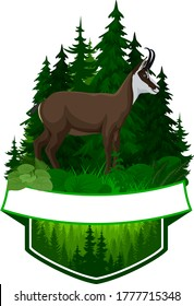 vector woodland emblem with chamois