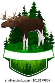 vector woodland emblem with moose bull
