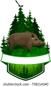 vector woodland emblem with wild hog boar and magpie