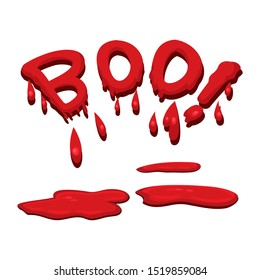 Vector word boo made of blood dripping on white background, illustration