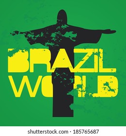 vector with word brazil world