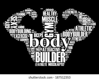 Vector word cloud concept of body builder fitness trainer on black background