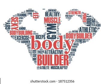 Vector word cloud concept of body builder fitness trainer on white background
