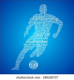 Vector word cloud concept of football player on blue background