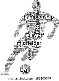 Vector word cloud concept of football player on white background