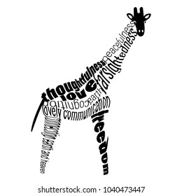 Vector word cloud of a giraffe. Typography illustration with characteristics of the power animal