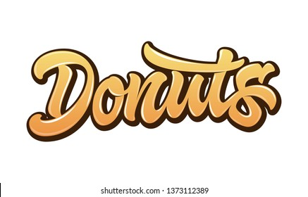 Vector word Donuts in bright gradient orange color with glare and outline isolated on white background. Concept for logo, card, typography, poster, print.