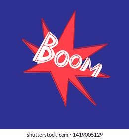 Vector word handwritten Boom on red and blue background