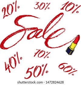 """Vector word """"sale"""" with different discount numbers percent written by red lipstic."""