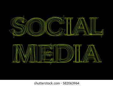 Vector word social media,  green light on black background