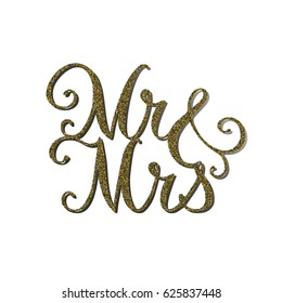 Vector words 'Mr&Mrs' with gold glitter effect. Handmade unique wedding romantic silhouette. A picture is suitable for printing, engraving, laser cutting paper, wood, metal, stencil manufacturing.