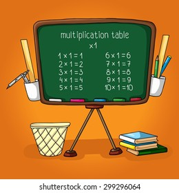 Vector work of a hand painted with school board, the multiplication table, Books, ruler, pencil holder, dustbin. Illustration for school textbooks, postcards, posters.