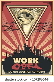 Vector Work Propaganda Poster. Obey Stylization