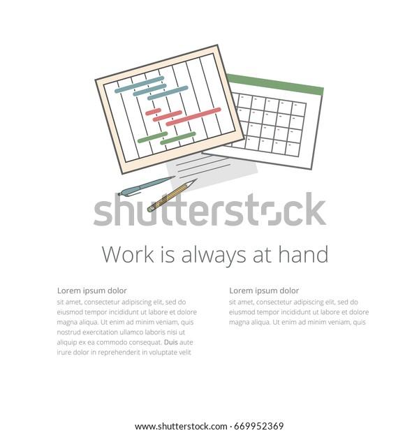 Vector Workdesk Template Timeline Progress Graph | Business