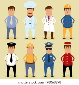 Vector worker set - office worker, chef, doctor, fireman, pilot, carpenter, policeman, porter
