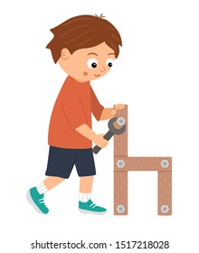 Vector working boy. Flat funny kid character screwing a screw in a wood chair with a screwdriver. Craft lesson illustration. Concept of a child learning how to work with tools. Picture for workshop