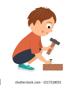 Vector working boy. Flat funny sitting kid character nailing up with a hammer. Craft lesson illustration. Concept of a child learning how to work with tools. Picture for workshop or masterclass