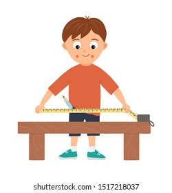 Vector working boy. Flat funny kid character doing measurements with tape-measure on work bench. Craft lesson illustration. Concept of a child learning how to work with tools. Picture for workshop
