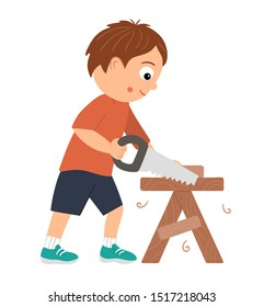 Vector working boy. Flat funny kid character sawing wood with a saw on work bench. Craft lesson illustration. Concept of a child learning how to work with tools. Picture for workshop or masterclass