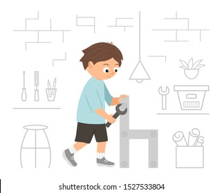 Vector working boy. Flat funny kid character screwing a screw in a wood chair with a screwdriver on workshop background. Craft lesson illustration. Concept of a child learning how to work with tools.