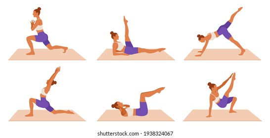 Vector Workout woman set. Girl doing fitness, aerobic and yoga exercises. Lunges, legs exercises and abc