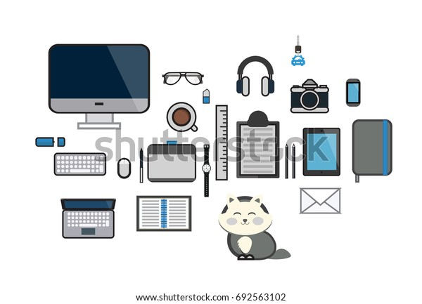 Vector workplace business documents icon set, files, pens, pencils, mobile phones, task, leveraging Notebook, Tablet, glasses, coffee cups, flat design