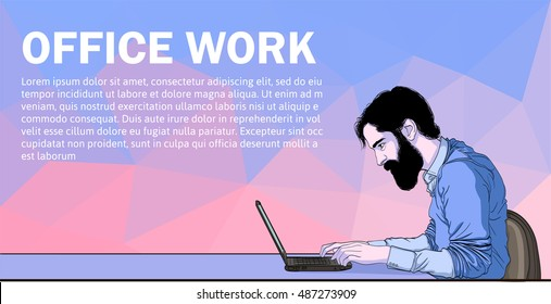 Vector of workplace and dev coworking. Social network and Web development. UX designer and internet sharing. Web development technology, service and software. Character man in hackathon software