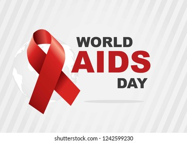 Vector of world aids day symbol.1st December World Aids Day. Aids Awareness.Red ribbon.banner or poster of world aids day
