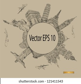 Vector World famous landmark collection
